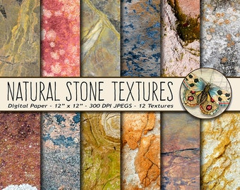 Natural Stone Digital Paper, Stone Photo Backgrounds, 12 Stone Photo Backdrops, Natural Rock Backgrounds