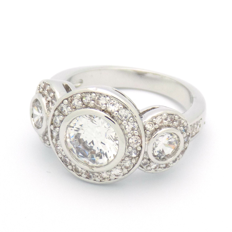 Art Deco Engagement Ring Wedding Ring Vintage Inspired Three