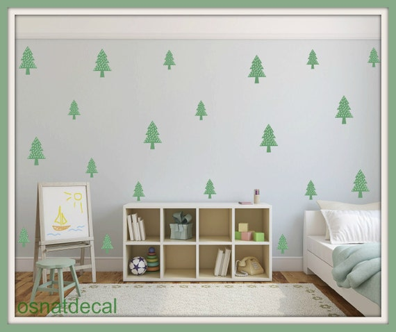 FREE SHIPPING Wall Decal Tree With Snow.50 Decal Green. Nuresery Decal. Diy Wall Decal. Kids Wall Decal.Home Decor.Wall Art. Wall Paper.