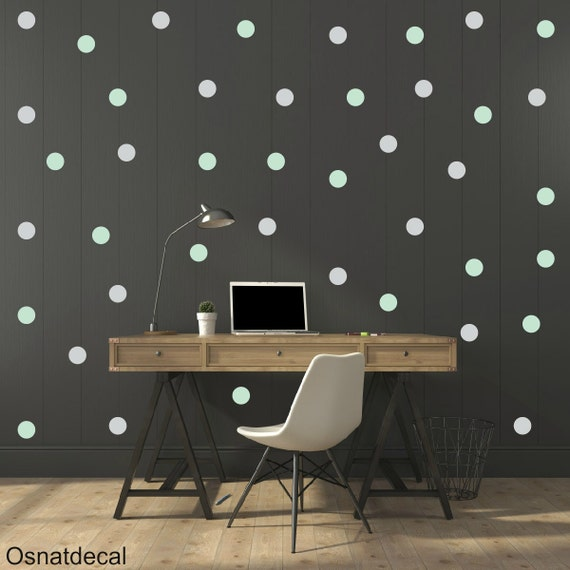 FREE SHIPPING Wall Decal Dots Mint & Gray Color .Larg Kit Contains: 208 . Wall Decal . Home Decor. Nursery Wall Decal Sticker Art Digital