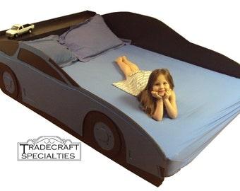 Sportscar full kids bed frame - handcrafted - race car themed children's bedroom furniture