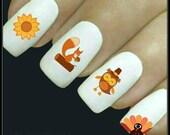 Autumn Nail Decal Turkey Nail Art 20 Water Slide Decals Fingernail Decals Nail Tattoos Nail Transfers Thanksgiving Nails
