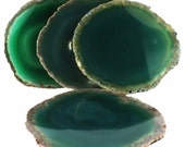 Vintage Agate Coasters, Set of 4, Green Dyed Natural Agate (EA2844) Polished stone slices quartz gem grounding crystal home decor rock