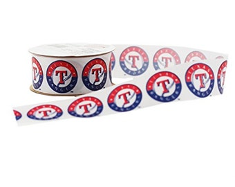 Offray MLB Texas Rangers Fabric Ribbon, 1-5/16-Inch by 12-Feet, White/Red/Blue