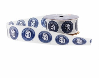 Offray MLB San Diego Padres Fabric Ribbon, 1-5/16-Inch by 12-Feet, White/Blue