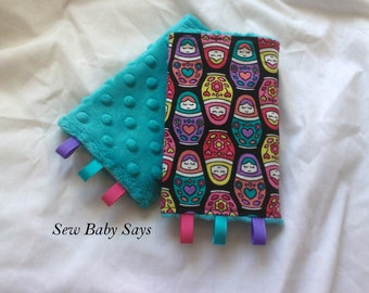 Baby Carrier Teething Pads-Reversible Strap Cover- Russian Dolls (Babki Tula)/Teal Minky Drool Pads