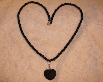 Black Matte Glass Beaded Necklace With a Black Heart Pendant with Black Rhinestones