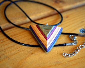 Recycled Skateboard Necklace - Triangle Pendant - Made from Recycled Skateboard