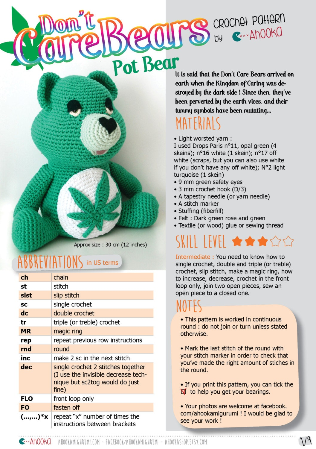 Pdf pattern dont care bear amigurumi plush marijuana crochet this is a digital file bankloansurffo Choice Image