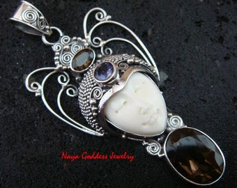 Sterling Silver Smokey Quartz Naya Goddess Pendant NG-1086