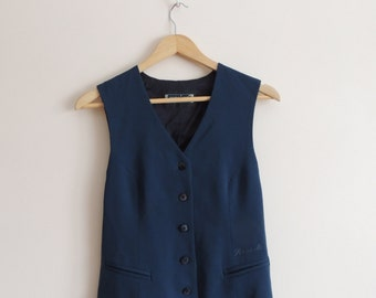 Vintage PROFLINE Teal classic vest with buttons, splits and lining, size 36 M2