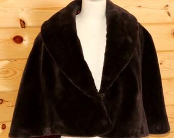 Vintage Faux Sable Fur Capelet Stole Morton's Washington DC