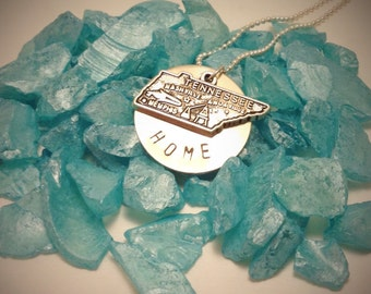 Tennessee HOME Hand stamped metal necklace