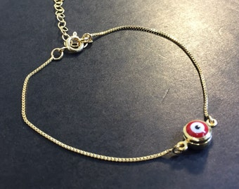 Lucky eye charm bracelet goldfilled material 18k