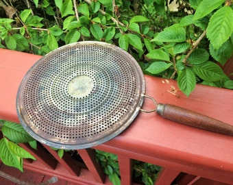Vintage Tin Strainer With Wooden Handle
