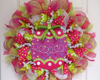 Glittering Green Bow Colorful Easter Egg Deco Mesh Wreath
