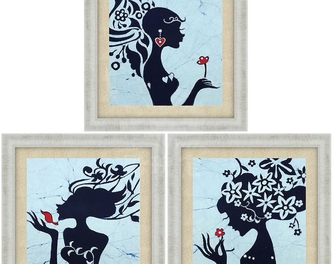 Graceful Silhouette - Fancy Abstract Batik Decorative Painting Wall Decor Unframed Set of 3