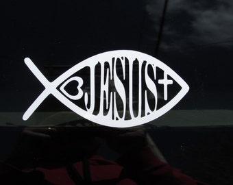 Christian car decal, Ichthys Symbol, Jesus Fish decal, Christian Window Decal