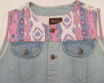 Vintage Denim Jeans Vest  M  by Action Wesr