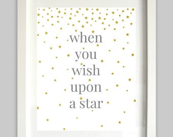 When You Wish Upon A Star Print // Nursery Art // Girl Wall Art / Boy Wall Art // Star Print // Nursery Star Art // Disney Art