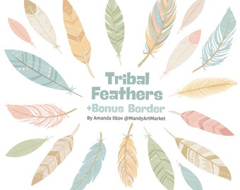 Professional Tribal Feathers Clipart & Vectors in Grandmas Garden - Feathers Clip Art, Feather Clipart, Feather Vectors, Feather Graphics