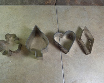 Set of 4 - Cookie Cutters - Club, Spade, Heart and Diamond - Used