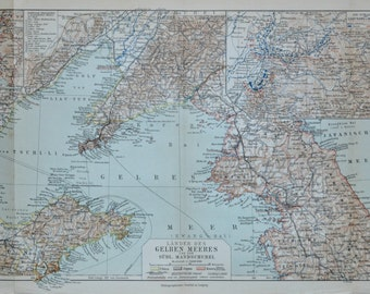 The Yellow Sea map.  Old book plate, 1904. Antique  illustration. 111 years lithograph. 9'6 x 18'5 inches.