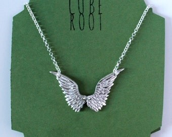 "Wings fine silver necklace with 18"" sterling silver chain"