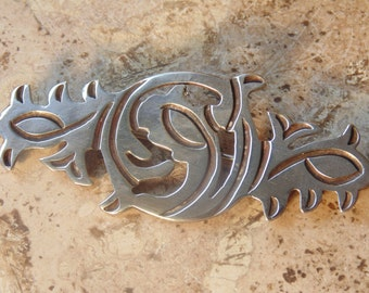 Taxco 980 Silver Incised Brooch / Pin with C Clasp