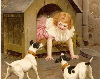 Sperlich Jack Russell Terrier with Girl 1908 Postcard