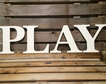 """PLAY Wooden Letters PLAY Nursery Play Room Decor Wooden Letters 14"""" Nursery Decor Hanging Wood Letter, Gifts,Custom Alphabet"""