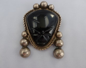"SALE! Org 95.00 Black Mexican Mask Vintage Sterling Silver Brooch  2.75""L X2""W"