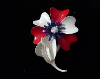 Beautiful Vintage Enamel Blue, Red and White Large Flower  Brooch / Pin