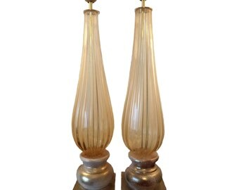 Amber and gold Murano glass lamps