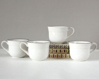 Vintage Stoneware Coffee Cups Mugs- Heatherware Japan- Set of 4- 1970s