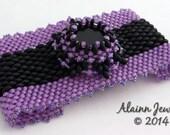Beadwoven Purple & Black Peyote Bracelet
