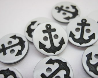 """10 Black Anchor Buttons 13mm (1/2"""") Sailor Buttons Boys Clothing Nautical Buttons Childrens Sewing Buttons"""