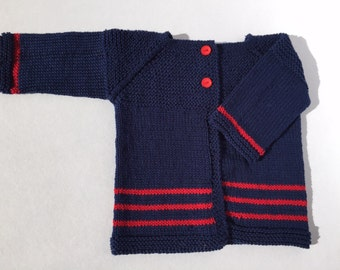 Baby Cardigan in Navy Cotton with Red Stripes and Buttons