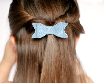 Chambray bow, denim bow clip, blue jean bow, leather hair bow, blue leather bow, bow clips, toddler bows, alligator bow clips