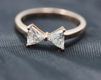 14k Rose Gold Diamond Bow-Tie Ring, Rose Gold Bow Tie Ring, Bow Tie Ring, Diamond Bow Tie, Gold Bow Tie Ring, Bow-tie Ring, Luxury