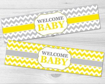 Water Bottle Label - DIY Printable Baby Shower Label: baby girl, baby boy, yellow, chevron, grey