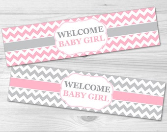 Water Bottle Label - DIY Printable Baby Shower Label: baby girl, pink, chevron, grey