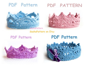 4 crochet Baby Crowns Pattern - PROMO price