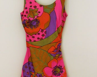 Vintage 1960s Swimsuit  / Cole of California Swimwear / 60s Bathing Suit / Psychedlic Print Swimming Suit / 1960s Swim Suit