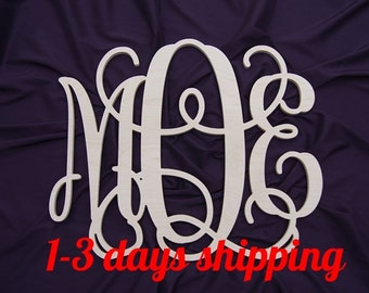 SALE 24 inch wooden  monogram wall hanging wall monogram nursery wall decor. UNPAINTED