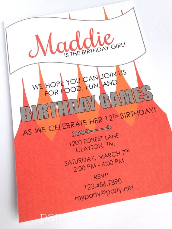 PRINTABLE Arrow and Flames Birthday Games Party Invitation, 5 x 7-inches