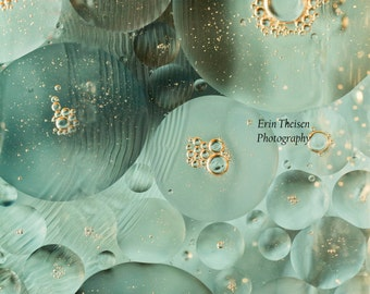 Oil & Water- Blue Modern Bubbles- Artwork and Home Decor, Macro Photography