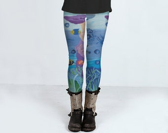 A World Below leggings, yoga leggings, printed leggings, women's clothing, women's leggins, spandex sports