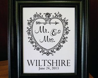 Burlap Art, Cotton Anniversary, Wedding Anniversary, 2nd Anniversary, Heart Flourish, Monogram, Est Date. (AED-W01)