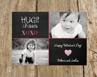 Valentine's Day Photo Card, XOXO design, 2 photo